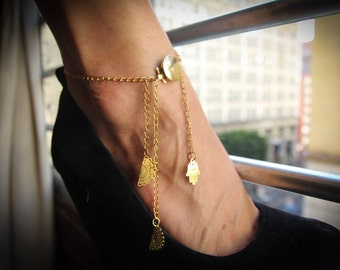 Dangling Gold Anklet with indian hand accents