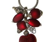 beaded keychain - Satin Red with velvet Heart Keychain