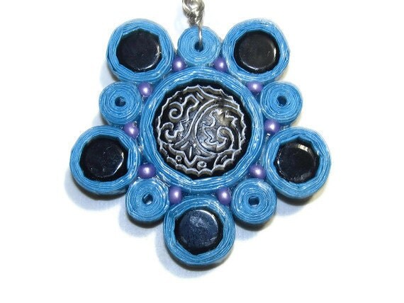 Flower Pendant - Paper and Beads - Blue with Black Petals