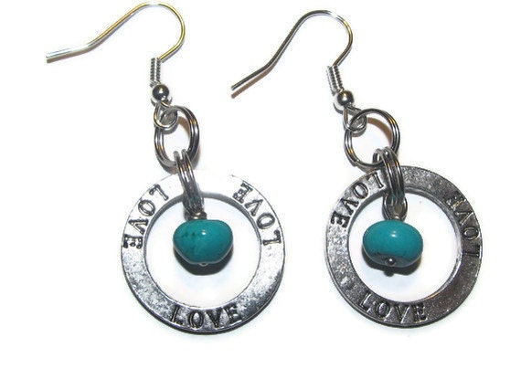 Earrings - turquoise stone and Love charm