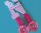 Pink Wooden Letter Hair Bow Clip Holder Personalized Little Critters
