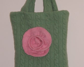 Hand Sewn Felted Apple Green Upcycled Sweater Hand Bag Pink Flower