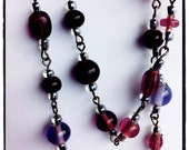 Extra long 1920s inspired purple necklace