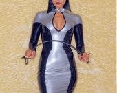 PANDORA Long Sleeve Mistress Dress in Latex with High Boned Collar