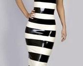 AMELIE Horizontal Banded Stripe Long Latex Dress.