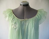 RESERVED Vintage 60s 70s Mint green nightie with rose applique - Large