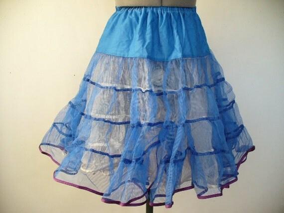 SALE Vintage Crinoline Petticoat: Bright blue Crinoline - XL