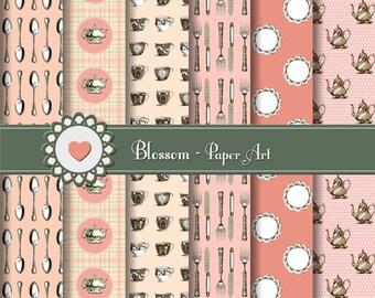 Digital Vintage Paper, Tea Digital Paper Pack, Tea Time Scrapbooking Paper Pack, Digital Scrapbook - Tea Scrapbooking - 1016