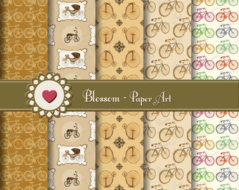 Bicycles Digital Paper Brown Digital Paper Pack, Digital Scrapbooking Paper Brown, Vintage Papers - Scrapbook - 1033
