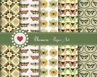Digital Paper Butterflies Digital Paper Pack, Butterflies Scrapbooking Paper, Brown Yellow, Vintage Images - 1043
