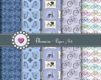 Blue Digital Paper Pack, Blue Bicycles Digital Paper, Bikes - 12x12 inches 300 dpi - Blossom Paper Art - 1049