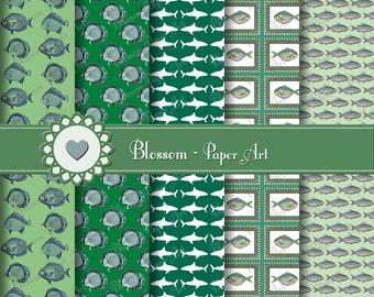 Green Digital Paper Fishes Digital Paper Pack, Digital Scrapbooking, Green Blue Vintage Collage Sheet - Blossom Paper Art - 1045