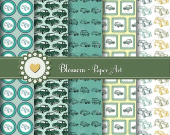 Digital Papers, Cars Digital Paper Pack, Digital Scrapbooking, Blue Vintage Cars Scrapbooking Digital Paper Pack  - 1055