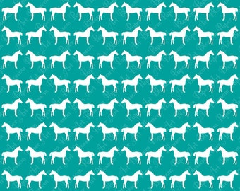 White Blue Horses Digital Collage Sheet - Scrapbooking Paper - Download Image - 12x12 inches 300 dpi - 1227