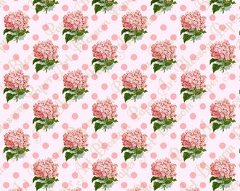 Digital Scrapbooking Paper - Vintage Pink Flowers - Download Image - Printable -12x12 inches - 300dpi - 1121
