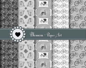 Black and White Digital Paper, Bicycles Digital Paper Pack, Digital Scrapbooking Paper, Download Image - 12x12 inches - 300 dpi - 1061