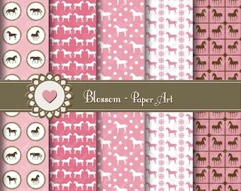 Digital Paper, Pink Horses Digital Paper Pack, Scrapbooking Pink Paper Pack, Horses INSTANT DOWNLOAD - 1028