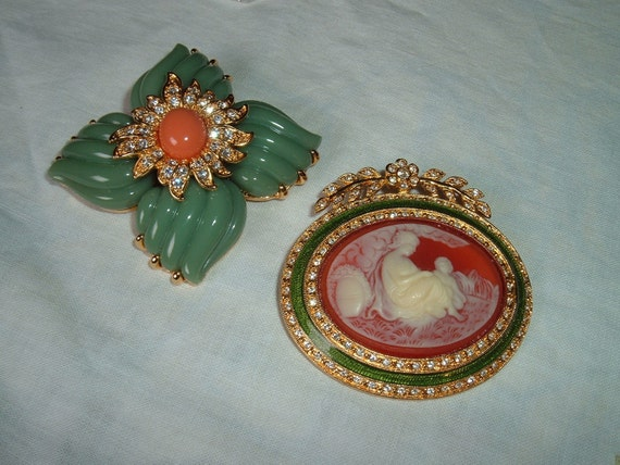 Two Vintage Joan Rivers Pins Brooch Lovely