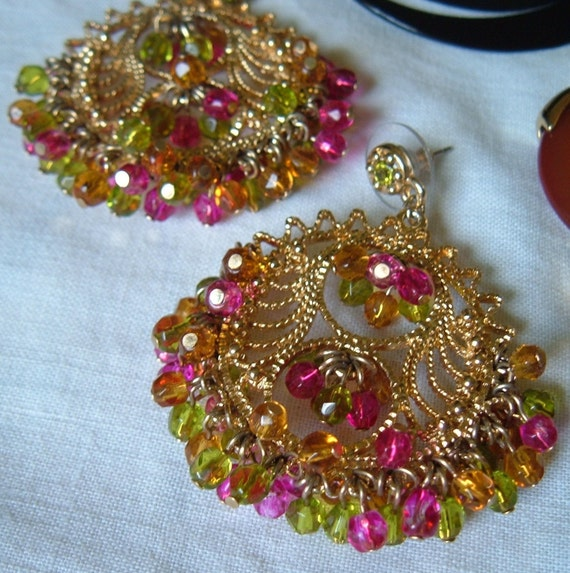 Vintage 80s Lacy Front Facing Hoops Tiny Colorful Glass Beads Pierced Earrings