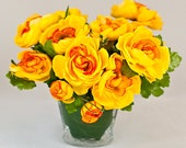 Silk Ranunculus Yellow Glass Vase