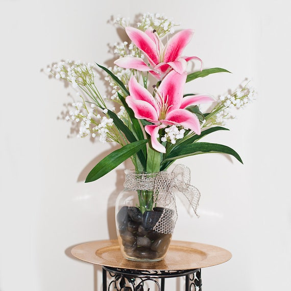 Real Touch Casablanca Lily Glass Vase