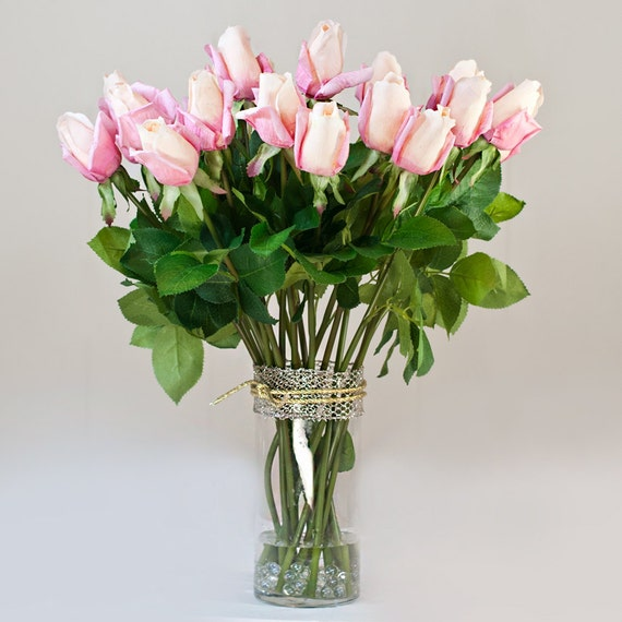 Real Touch Roses Arrangement with Pink Artificial Roses Faux in Cylinder Glass Vase for Home Decor or Wedding Silk Rose Centerpiece