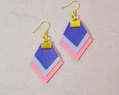 Blue Pink Earrings - Faux Leather Geometric Teardrop