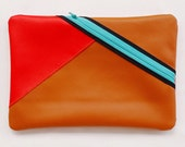 Brown & Red Color Block Clutch - Faux Leather