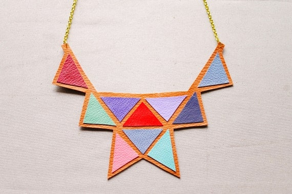 Bib Necklace - Faux Leather Triangle Statement Necklace (2)