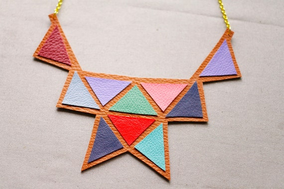 Bib Necklace - Faux Leather Triangle Statement Necklace (7)
