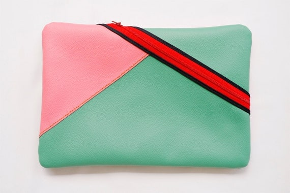 Seafoam Green & Pink Color Block Clutch - Faux Leather
