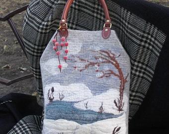 Tote felted bag winter  Rowan branch
