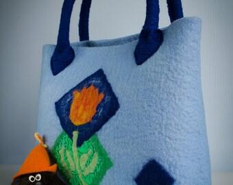 Women felted handbag Blue Tulip