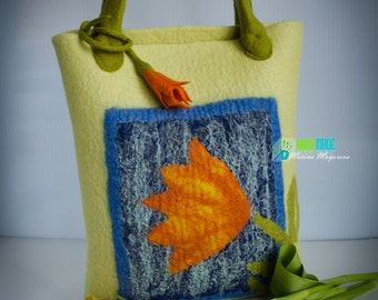 Felted handbag Yellow Tulip