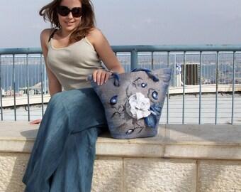 "Beach handbag tote felt bag  ""Gzhel"""