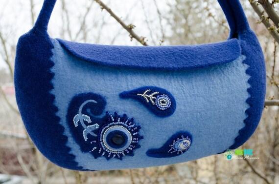 Felted bag  Indian Night / Felted purse / Felted handbag