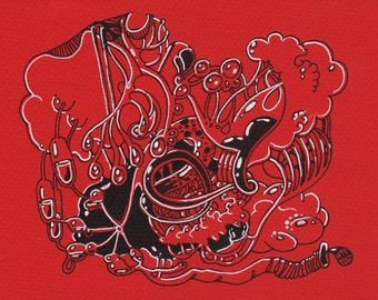 Psychedelic drawing - red and black - medical illustration - whimsical art - Organelle no. 1 - contemporary art - small drawing