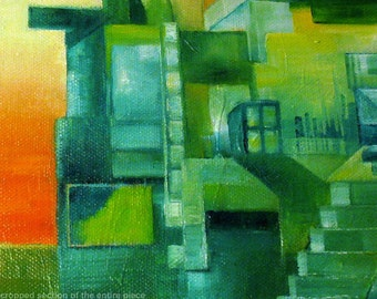 Cubist painting - cubism - green art - green painting - cityscape - Different Kinds of Mornings - oil painting - contemporary art