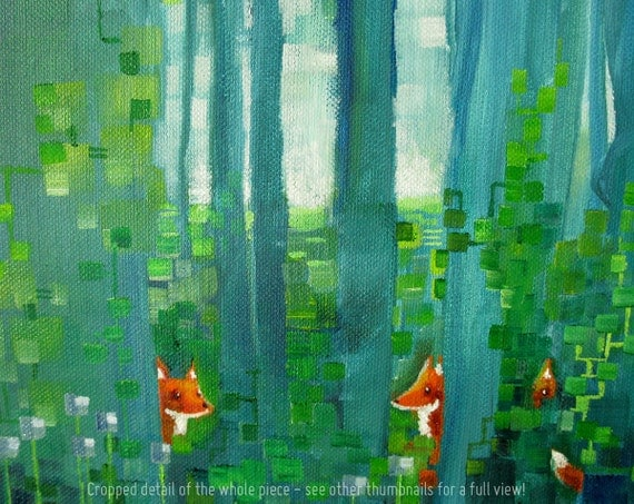 Forest themed nursery art - Original oil painting: Fox-Forest (2012)