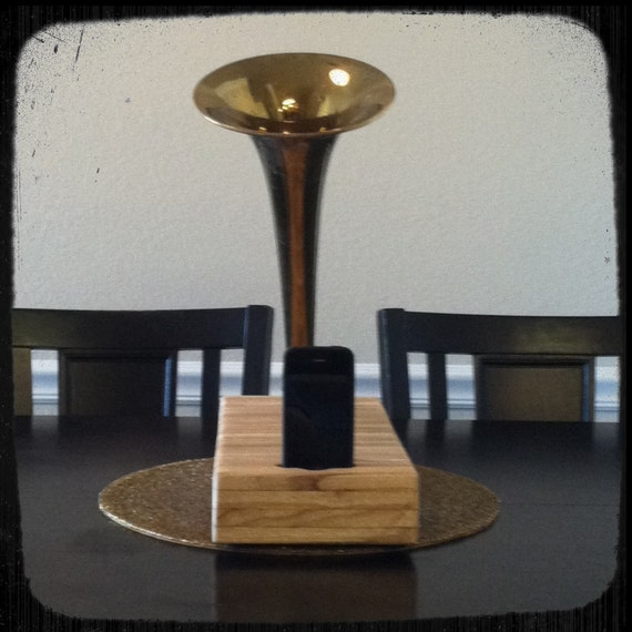Acoustic iPhone Speaker Dock Utilizing a Salvaged Antique Vintage Trombone - READY TO SHIP -