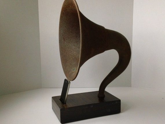 Acoustic  iPhone Speaker Dock Utilizing a Vintage Antique Atwater Kent Gramophone Phonograph Horn - READY to SHIP-