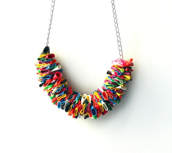 MULTICOLORED BALLOONS NECKLACE - Silver chain with multicolor balloons - by Nokike