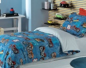 Custom Twin or Single Size Dark Blue, Red Motorcycle Printed  Kid Bedding Set For Boys