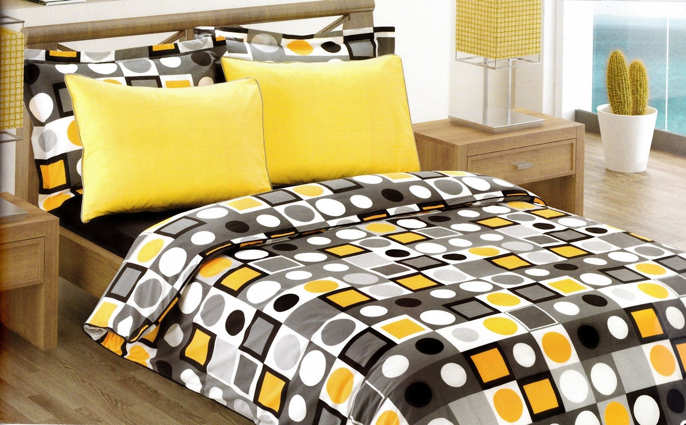 Black And Yellow Comforter Queen: Modern Geometric Dot Print Bedding Set In Yellow By