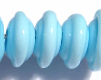 AQUA BLUE Saucer Rondelles Handmade Glass Lampwork BEADS  Lovely Light Blue beads Set of 6