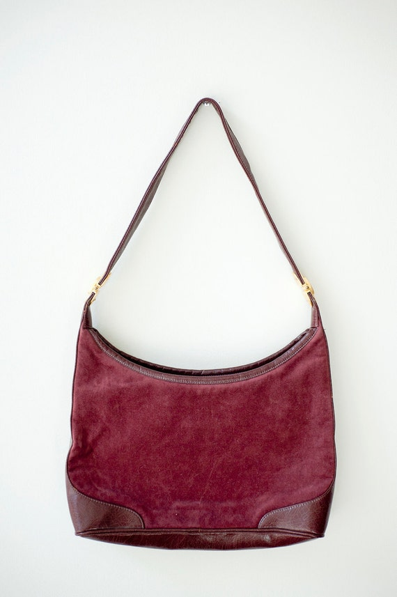 Vintage 1960s Maroon Velvet Leather Handbag by Zenith