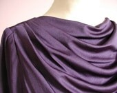 Lovely royal purple evening dress with draped neckline created by ruching at shoulders, 1980s, classic style, est. size M