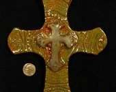 Ceramic Cross, Hand Made, Glazed and Kiln Fired in Greenish Brown, Embossed With Design, Accented With Ornate Focal Cross