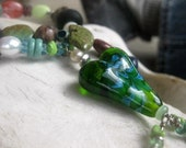 Hand Made Green Lampwork Glass Heart Necklace