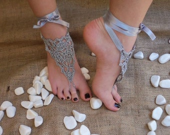 Bridal wedding shoes Gray silver crochetwedding Barefoot Sandals, Nude shoes, Foot jewelry, Bridal, Victorian Lace, Sexy, Yoga, Anklet
